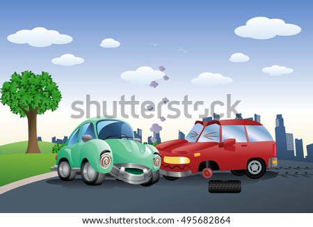 illustration of a red car destroyed in a crash hitting green car on city background
