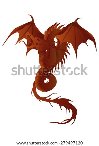 illustration of a red dragon with wings wireframe - stock photo