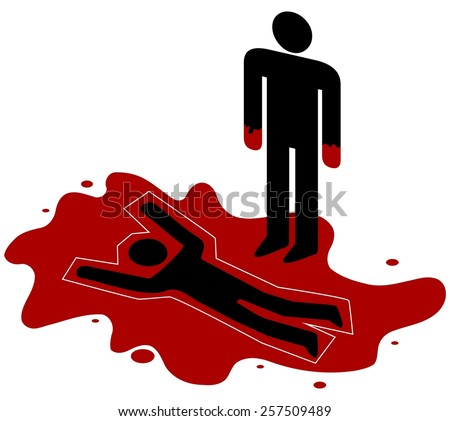 illustration red handed person standing over stock illustration rh shutterstock com over my dead body cartoon dead body cartoon images