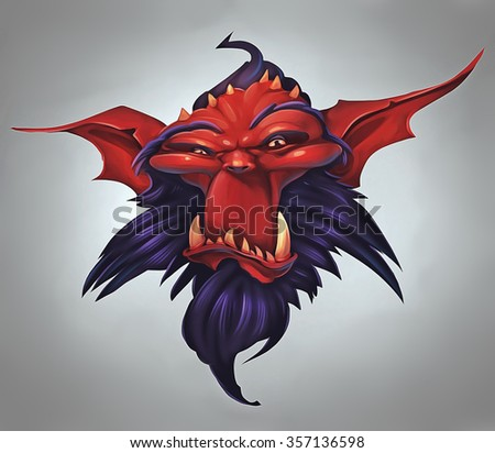 Illustration of a red skinned demon portrait - stock photo