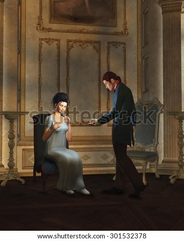 Illustration of a regency period (late 18th to early 19th century) couple in a candlelit ballroom, 3d digitally rendered illustration - stock photo
