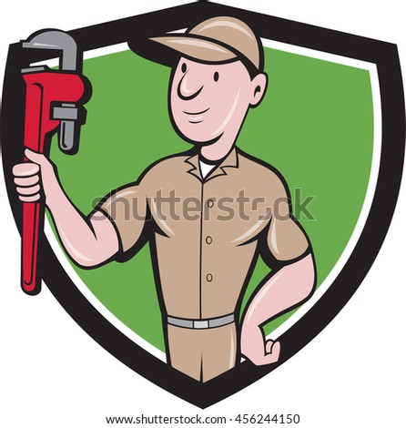 Illustration of a repairman handyman worker wearing hat carrying holding monkey wrench looking to the side viewed from front set inside shield crest done in cartoon style.  - stock photo