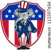 Illustration of a republican elephant mascot of the republican grand old party gop wearing hat and suit thumbs up set inside American stars and stripes flag shield done in cartoon style. - stock photo