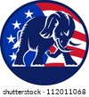 Illustration of a republican elephant mascot with American USA stars and stripes flag circle done in retro style. - stock vector