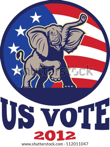 Illustration of a republican elephant mascot with American USA stars and stripes flag done in retro style with words us vote 2012