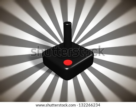 Illustration of a retro games controller over  a starburst background - stock photo
