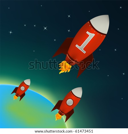 Illustration of a retro rocket ships flying throw outer space - stock photo