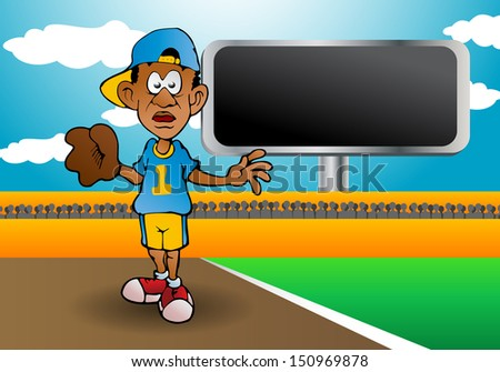 illustration of a right handed young professional male baseball  player pitcher on field background - stock photo