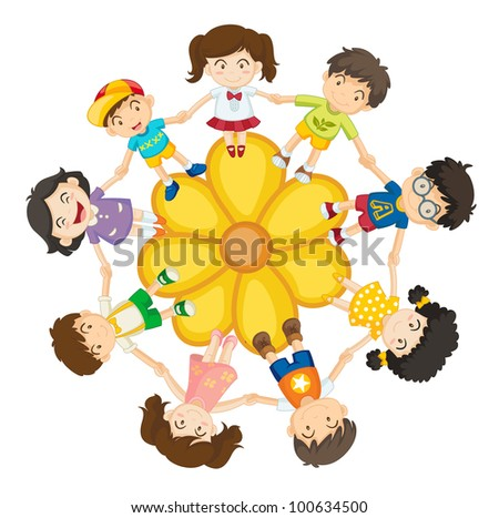 Illustration of a ring of children - EPS VECTOR format also available in my portfolio. - stock photo