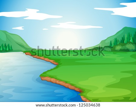 Illustration of a river in a beautiful nature - stock photo