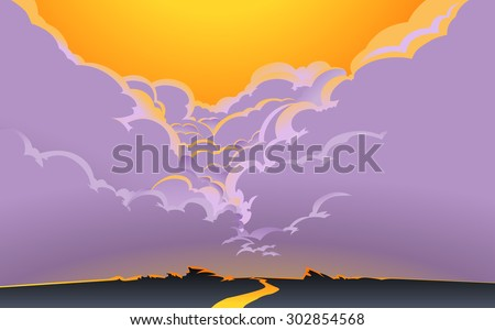 Illustration of a road, aiming for a horizon,with  beautiful crimson glow in the sky and the great cumulus clouds in the background.Empty space leaves room for design elements or text.Poster.Postcard. - stock photo