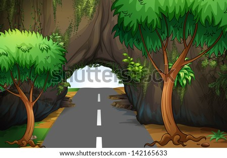 Illustration of a road under the cave