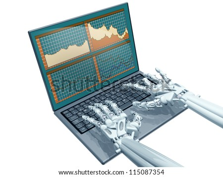 Illustration of a robot trader on a laptop - stock photo
