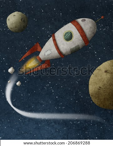 Illustration of a rocket flies through space - stock photo