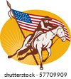 illustration of a Rodeo cowboy horse riding with  american stars and stripes flag in the background - stock photo