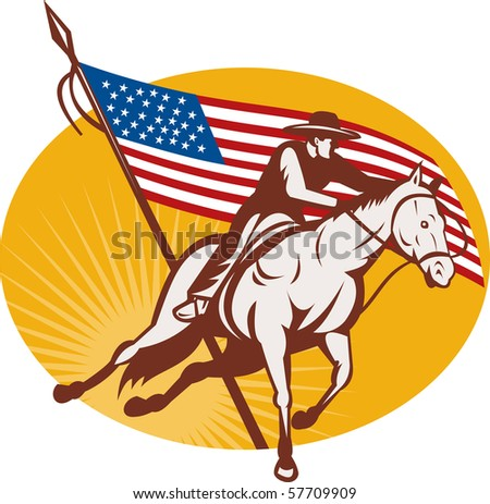 illustration of a Rodeo cowboy horse riding with  american stars and stripes flag in the background