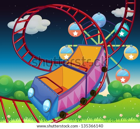 Illustration of a roller coaster ride at the carnival - stock photo