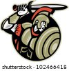 Illustration of a roman centurion soldier fighting with sword and shield done in retro woodcut style set inside circle. - stock photo