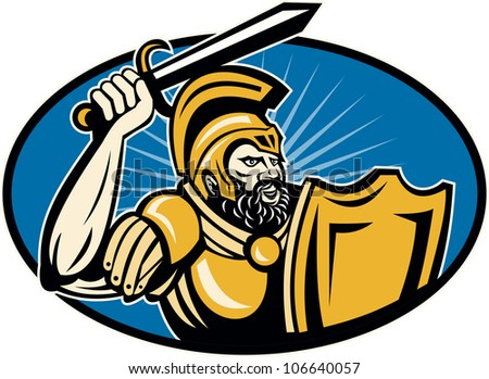 Illustration of a roman centurion soldier fighting with sword and shield done in retro woodcut style set inside circle.