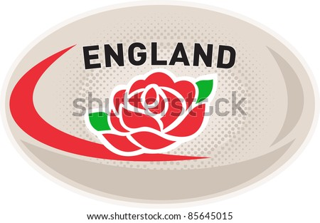 illustration of a rugby ball with English rose flower and words England on isolated white background - stock photo