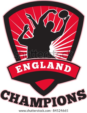 illustration of a rugby player catching lineout ball  inside shield with words England champions on isolated white background - stock photo
