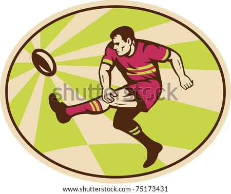 illustration of a rugby player kicking the ball set inside ellipse done in retro style - stock photo