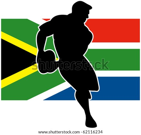 Illustration of a rugby player running passing ball with flag of South Africa in background