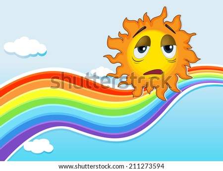 Illustration of a sad sun near the rainbow