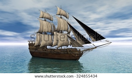 Illustration of a sailing ship on a calm ocean, 3d digitally rendered illustration - stock photo