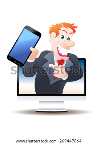 illustration of a salesman cartoon pop out from television offering smart phone on isolated white background - stock photo