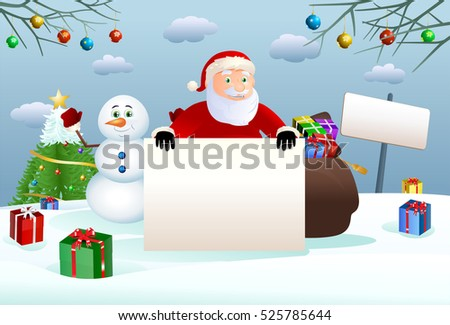 illustration of a santa claus hold blank board and happy snowman on winter christmas background