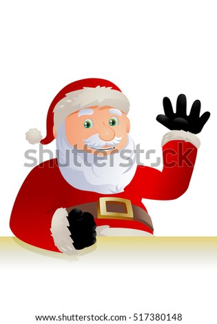 illustration of a santa claus seems happy say hi on isolated white background