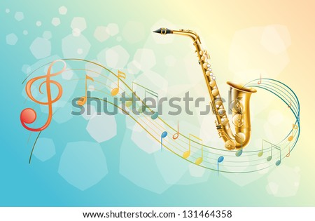 Illustration of a saxophone and the musical symbols - stock photo