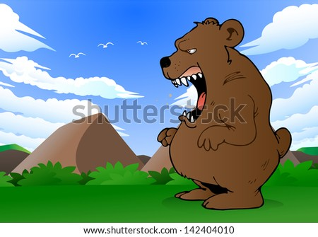 illustration of a scary bear  roaring on nature background - stock photo