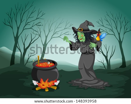 Illustration of a scary witch at the forest with a pot and a bird