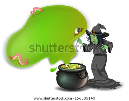 Illustration of a scary witch with a magical pot on a white background
