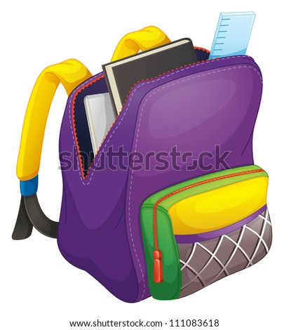 illustration of a school bag on a white - stock photo
