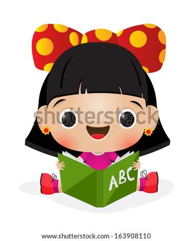 Illustration of a schoolgirl reading - stock photo