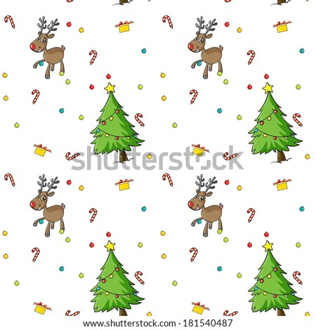 Illustration of a seamless christmas design on a white background