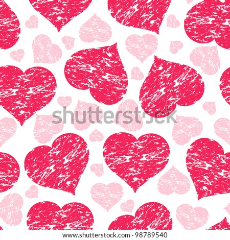 illustration of a seamless pattern with grunge hearts