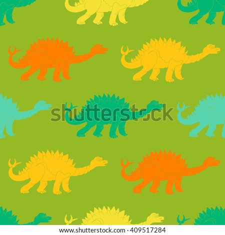 illustration of a seamless repeating pattern of dinosaur Stegosaurus. The texture of the fabric for baby clothes