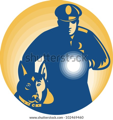 Illustration of a security guard policeman with police guard dog and flashlight facing front set inside circle done in retro style. - stock photo