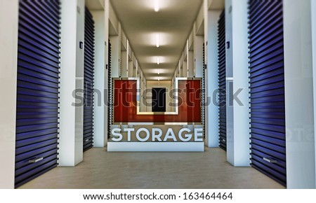 illustration of a self storage interior - stock photo