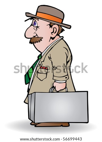 illustration of a senior businessman carrying a suitcase