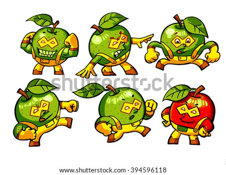 illustration of a series of nice superhero apples. Jump, fight, fights, runs.