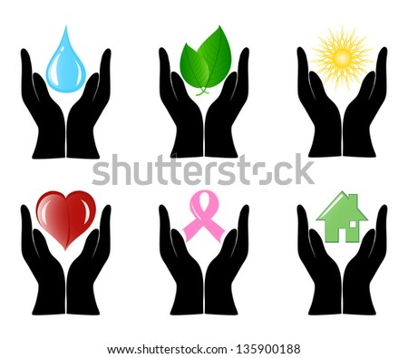 illustration of a set of environment icons with human hands. - stock photo