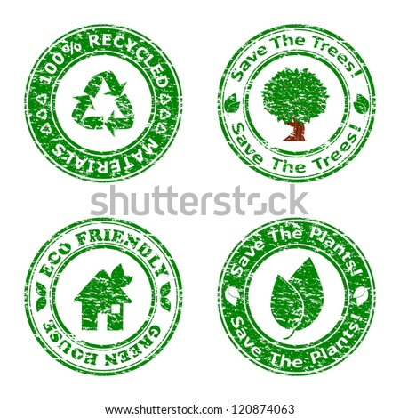 illustration of a set of green environmental icons isolated on white background