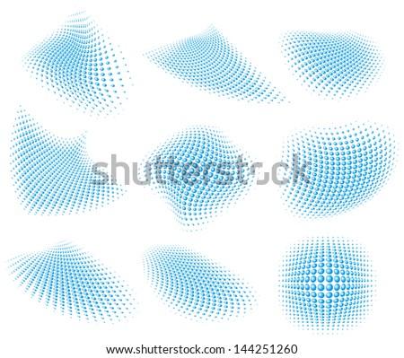 illustration of a set of halftone patterns - stock photo