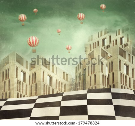 Illustration of a several modern buildings in a surreal landscape and many hot air balloons - stock photo