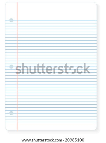 Illustration of a sheet of notebook lined paper you can write on.